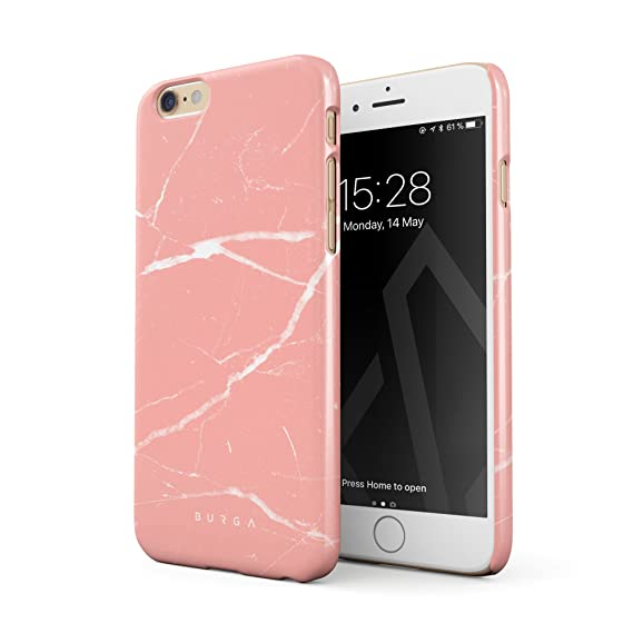 separation shoes 758e8 73748 BURGA Phone Case Compatible with iPhone 6 Plus / 6s Plus, Peaches & Cream  Pink Marble Thin Design Durable Hard Plastic Protective Case