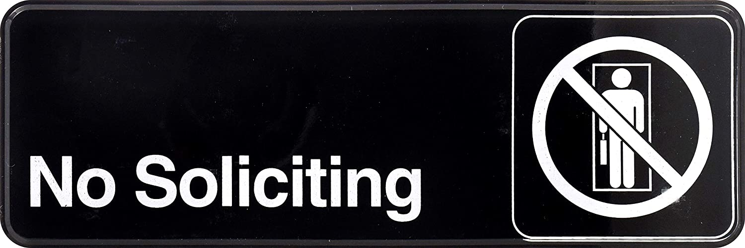 Hillman 848635 No Soliciting Self Adhesive Sign, Black and White Plastic, 3x9 Inches 1-Sign