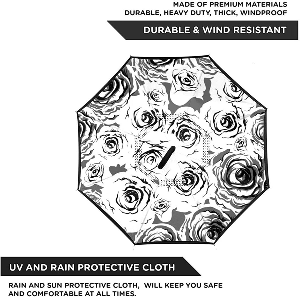 Roses Seamless Pattern Vector Image Reverse Umbrella Double Layer Inverted Umbrellas For Car Rain Outdoor With C-Shaped Handle Personalized