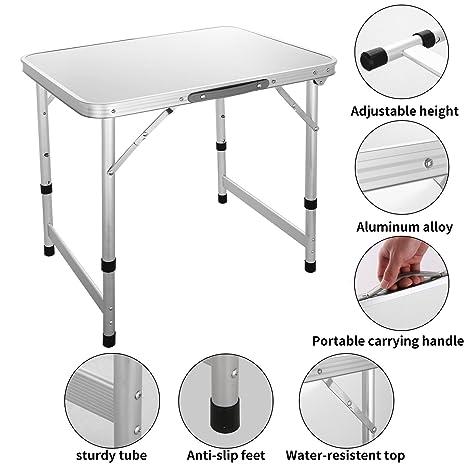 swteeys plegable mesa de camping pequeña mesa de picnic portátil ...
