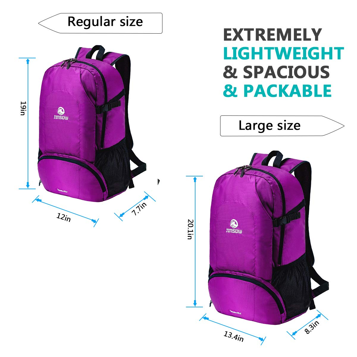 JINSOW 35L Lightweight Packable Hiking Backpack Daypack, Water Resistant Foldable Large Bags Travel Camping Outdoor Backpacks for Women Men Boys Girls Purple by JINSOW (Image #6)