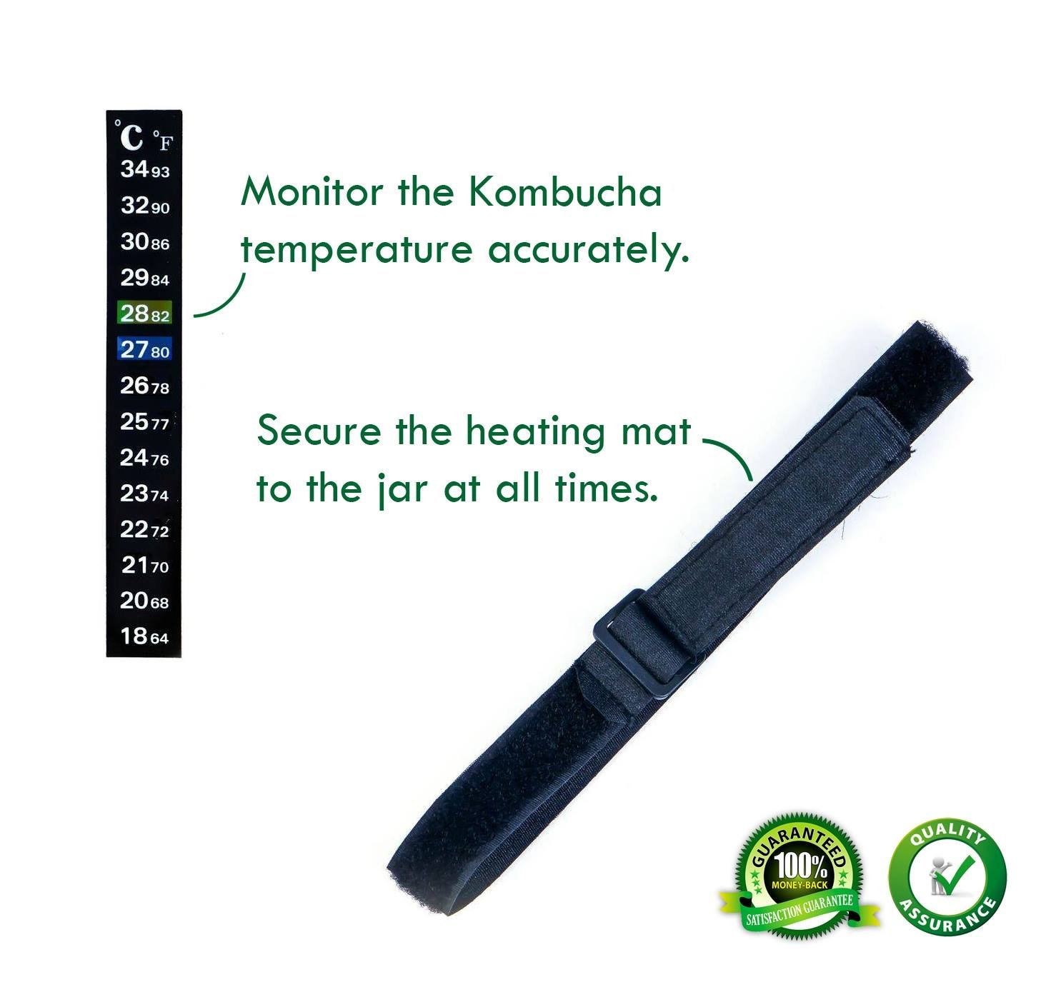Perfect Kombucha Fermentation Heater Wrap Around Brew Belt with Temperature Control and Thermometer 3x20 Kombucha Heater with Strap Set of 02 Units
