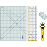 """WORKLION Rotary Cutting Mat Set:45mm Rotary Cutter & 2 Replacement Rolling Blades & 18""""x 24"""" inch Self-Healing Cutting…"""