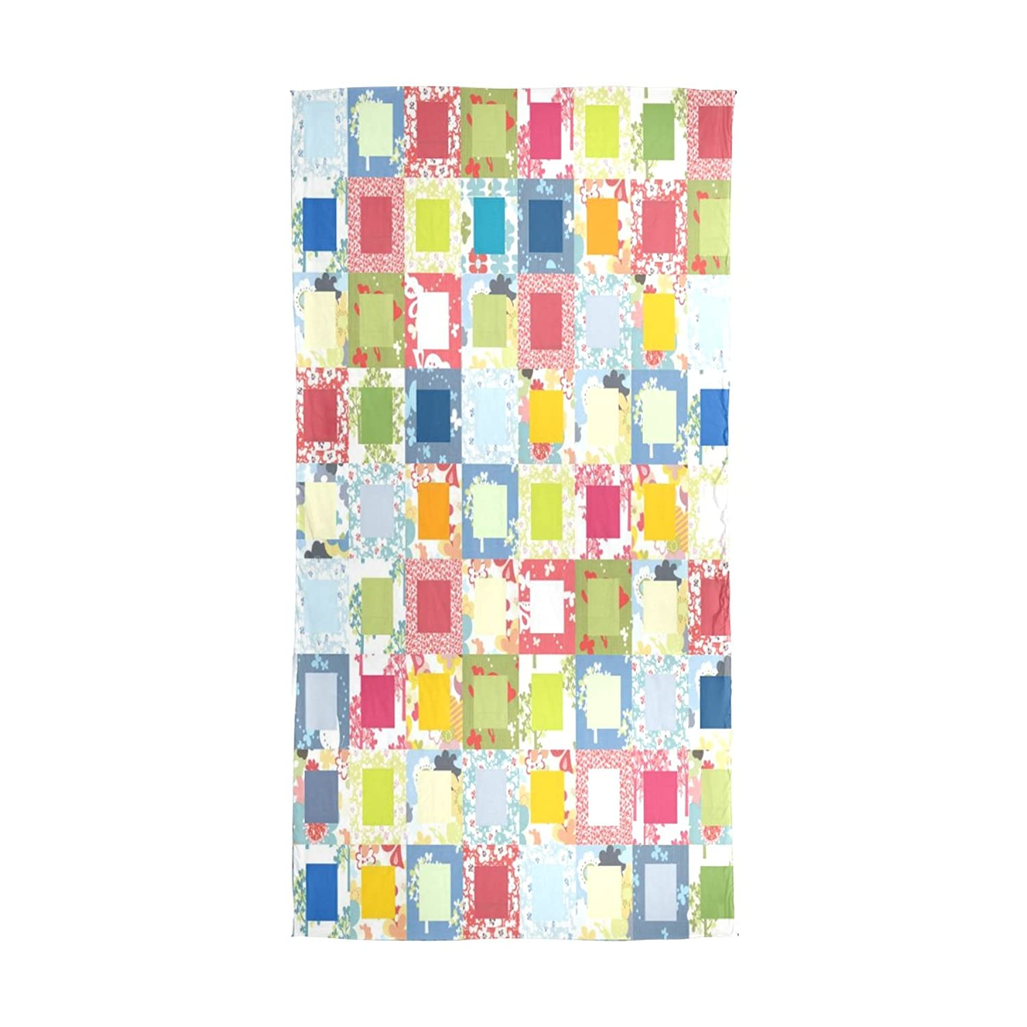 WDYSECRET Colored Squares Silk Printing Scarves@for Women 70.86x35.4(in)
