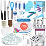 Shpebs Cake Decorating Supplies | Cake Decorating Kit Baking Supplies Set For Beginners | Rotating Cake Turntable Stand | Icing Piping Tips & Bags | Frosting & Pastry Tools. (340 pcs package) (Color: 340 pcs)