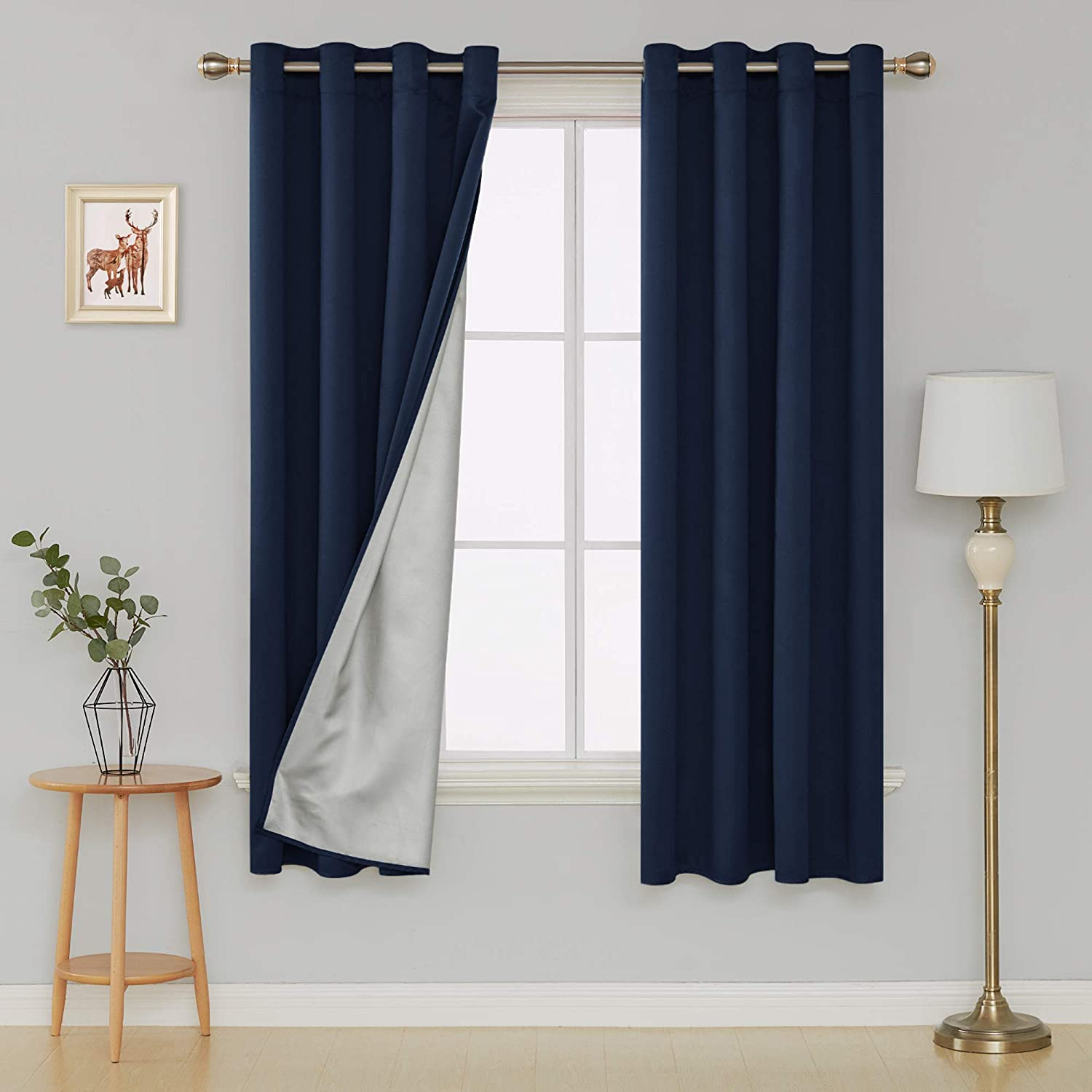 Deconovo Room Darkening Thermal Insulated Blackout Curtains Grommet Top Energy Efficient Silver Back Coating Drapes for Living Room 52 by 72 Inch Navy Blue 2 Panels