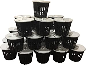 Net Pot 3 inch with Lids Mesh Hydroponic Aeroponic Orchid Round - 25 Pack