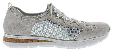 Rieker M5763 Damen Halbschuhe, Sneaker, Schnürer, Sportliche Schnürschuhe mit Pailetten