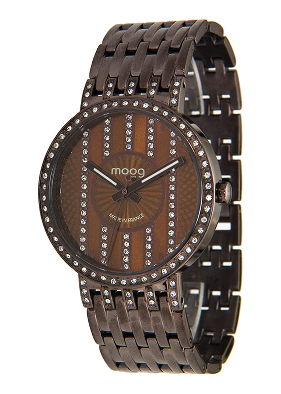 Moog Paris - Look at me - Damen Armbanduhr braun aus Edelstahl - Armband Braun aus Edelstahl - in Frankreich hergestellt -
