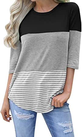 kigod Womens Casual 3/4 Sleeve Color Block T-Shirt Blouses Back Lace Striped Tops Tee Shirts