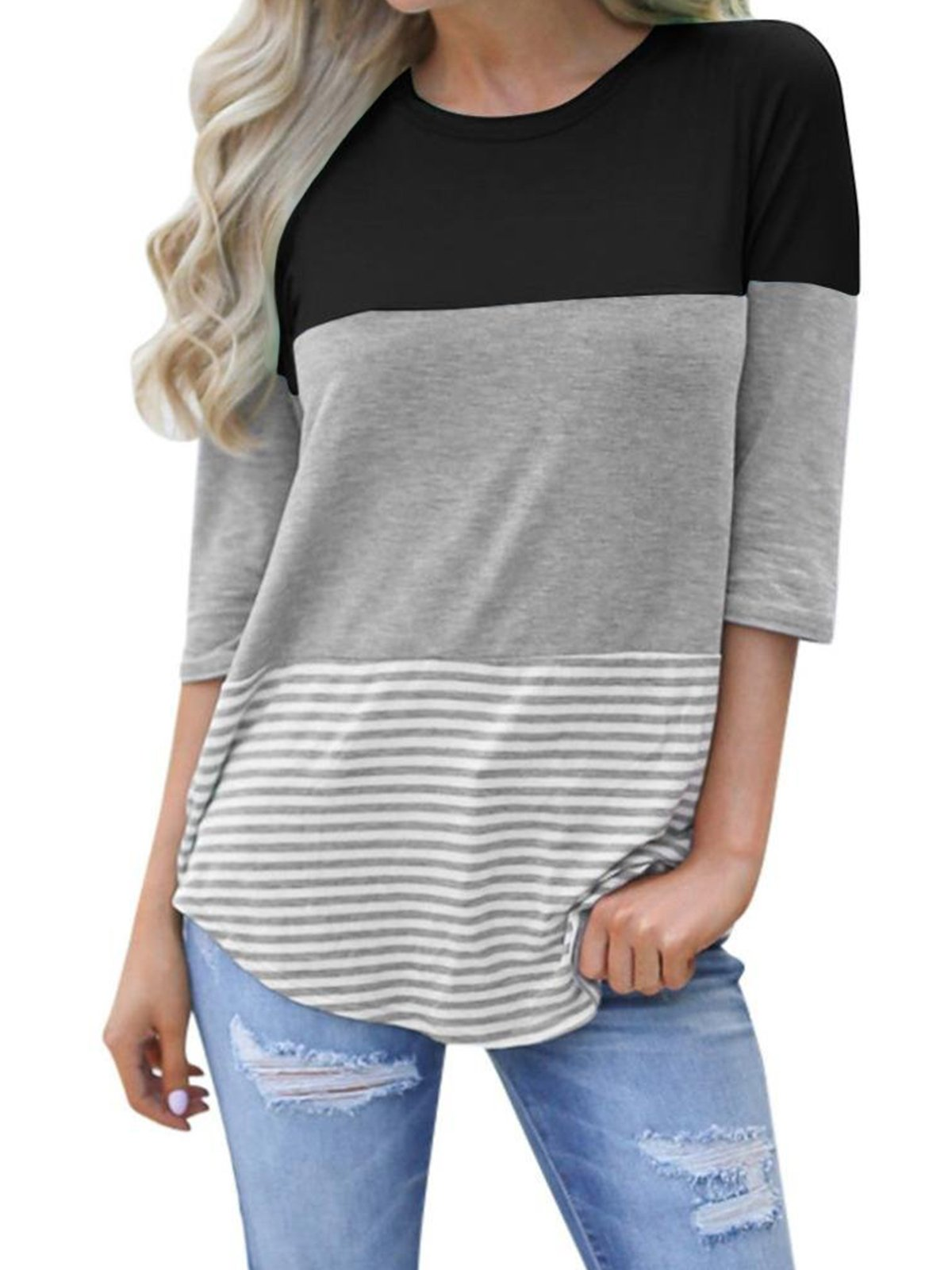 VYNCS Womens Back Lace 3/4 Sleeve Casual T-Shirt Blouses Triple Color Block Stripe  Tops Tee Shirts (Black, XX-Large)