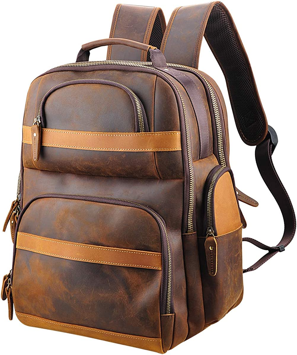 Oakhide Genuine Leather Backpack For Men Vintage 15.6 inch Laptop Bag Large Capacity Business Travel Hiking Overnight Shoulder Daypacks with USB Charging Port,X-Large