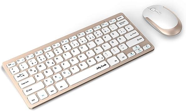 Jelly Comb Conjunto de ratón y teclado inalámbrico 2.4 G y teclado ultrafino, teclado y ratón QWERTZ, disposición alemana para MacBook, PC, portátil, ...