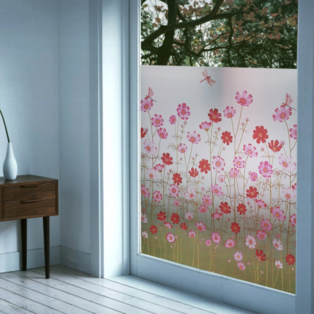 YQ WHJB Self adhesive Window films,Frosted glass film,Decorative Pvc Anti-uv Sun protection film Explosion proof Wall sticker Decal-A 91x100cm(36x39inch)