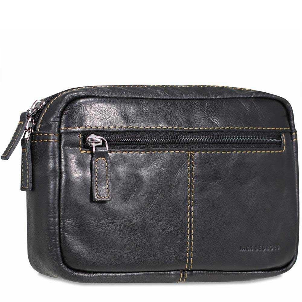 Jack Georges Voyager Belt Bag, Leather Travel Kit in Black