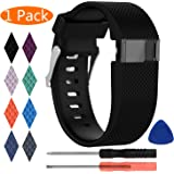 Fitbit Charge HR Strap, KingAcc Silicone Accessory Replacement Bands Straps for Fitbit Charge HR, With Metal Buckle Fitness Sport Wristband Band Women Men Large Small Black, Orange, Gray, Blue, Purple