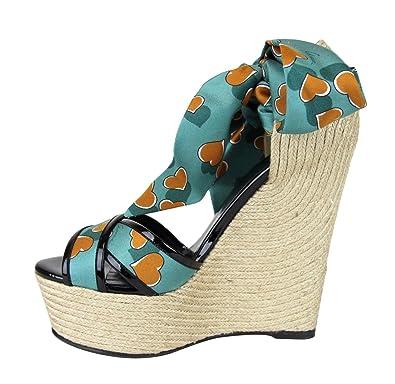 8d15968cb36 Amazon.com: Gucci Women's Heartbeat Satin Tie Carolina Wedge Sandals ...