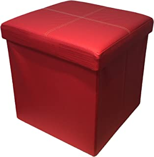 HomeHarmony Folding Storage Ottoman Seat, Stool, Toy Storage Box Faux  Leather (Red Medium