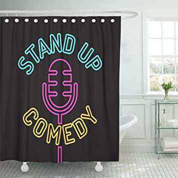 Amazoncom Emvency Shower Curtain Red Event Stand Up Comedy On
