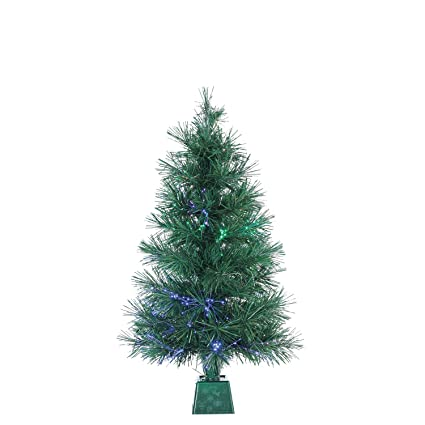 fiber optic battery operated christmas pine tree with base 2 feet high artificial christmas tree - Battery Operated Christmas Tree