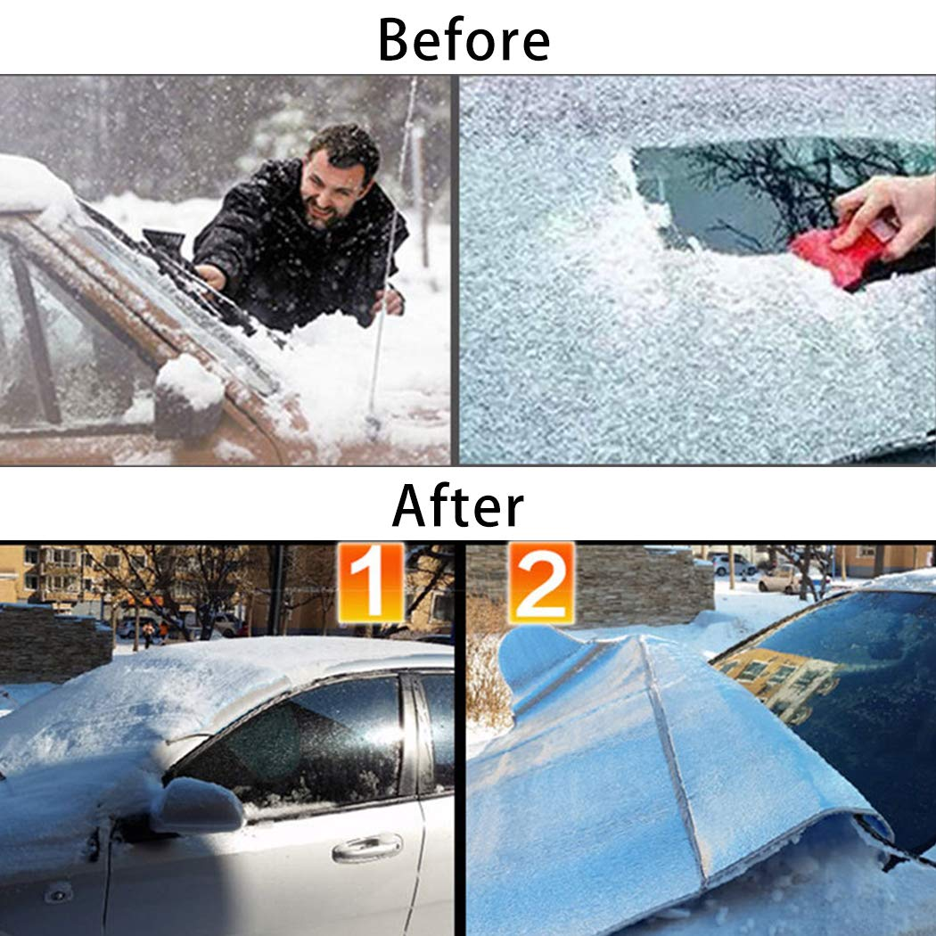 GGIENRUI Car Windshield Snow Cover Car Sun Shade Windshield Protector for All Weather Snow Ice Frost Sun UV Car Covers Fit Most Cars