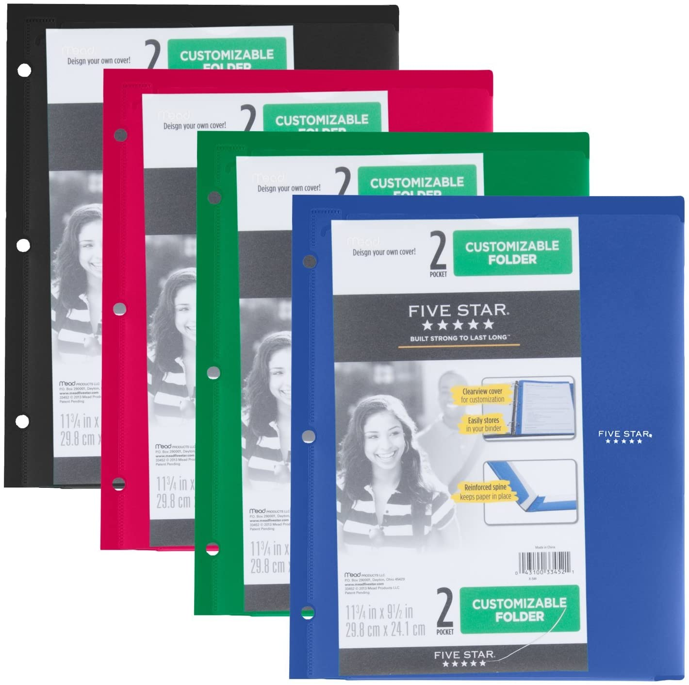 Five Star 2 Pocket Folder, Customizable Cover, Folder with Pockets, Fits 3 Ring Binder, Plastic, Black, Red, Green, Blue, 4 Pack (38098)
