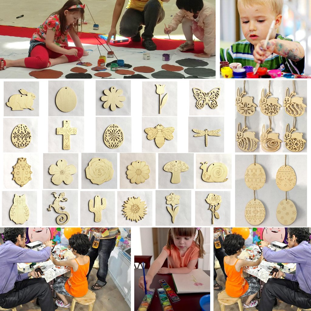 Binwwede DIY Wood Pendant Decorations 10 Pcs Creative Hand-Filled Children's Gifts Family Ornaments With Lanyard (Egg) by Binwwede (Image #6)