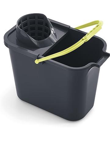 Mery 0111.32 Cubo Rectangular de 12 litros con Escurridor, Polipropileno, Gris y Lima,