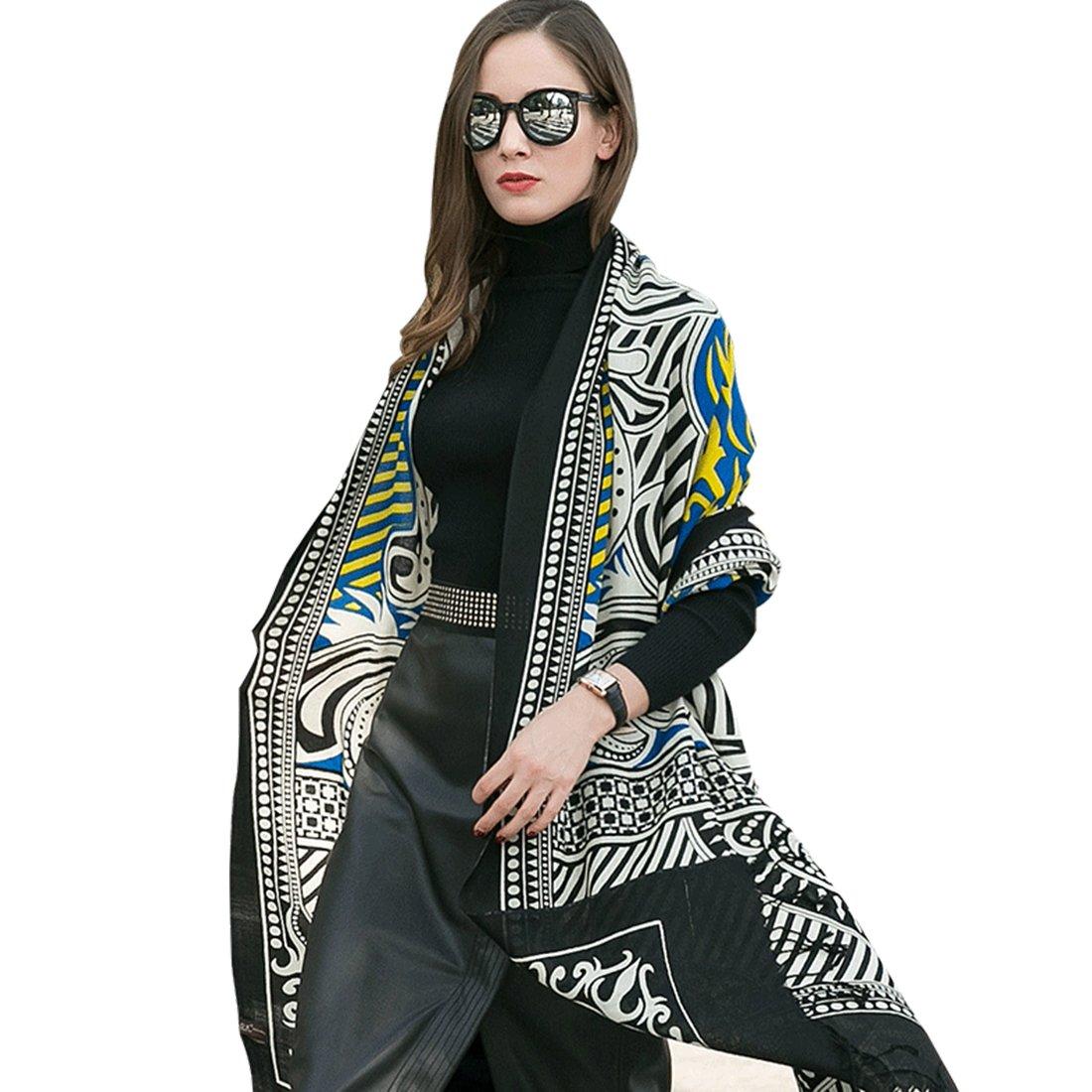 Black&bluee DANA XU 100% Pure Wool Women Winter Large Scarf Pashmina …