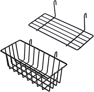 GBYAN Grid Wall Basket Wall Grid Accessories Wire Straight Shelf with Hooks Wall Organizer for Grid Panel Board, 2 Pack