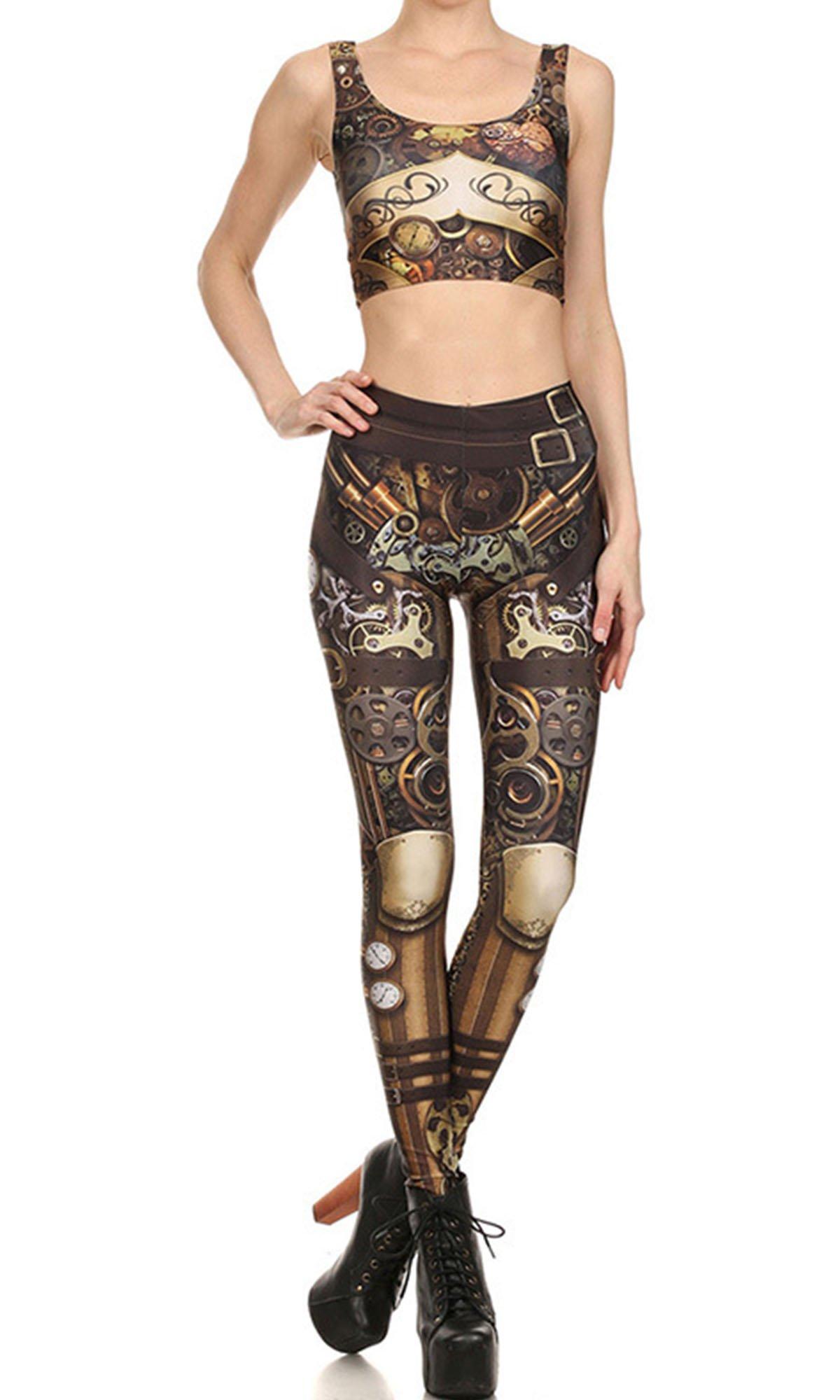 Women Cosplay Steampunk Leggings Sets High Waist Mechanical Gear Pants