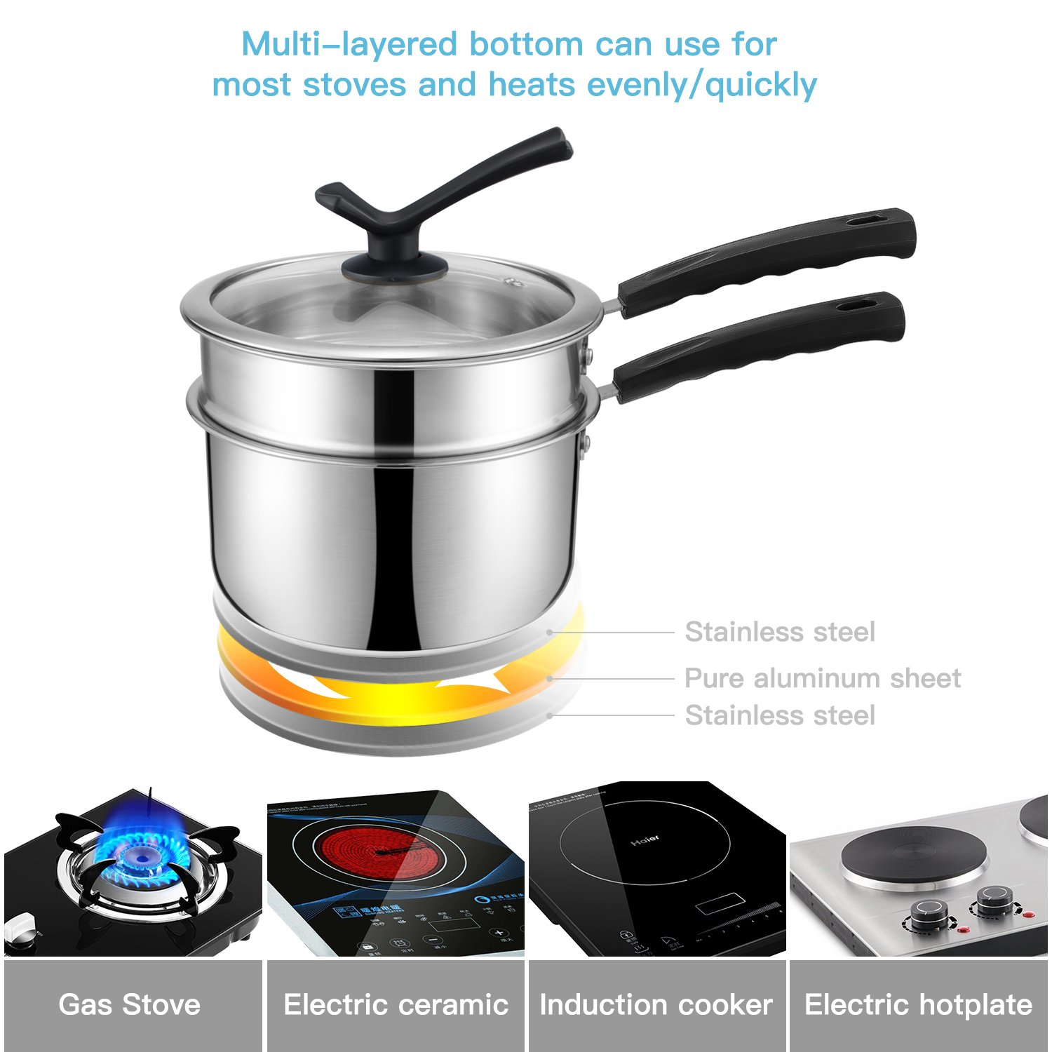 Double Boiler&Classic Stainless Steel Non-Stick Saucepan,Melting Pot for Butter,Chocolate,Cheese,Caramel and Bonus with Tempered Glass Lid by JKsmart (Image #4)