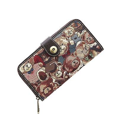 a3061b6ca53a [holiwind] 長財布 レデイース かわいい テディベア 大容量 二つ折り スマホ収納可 小銭