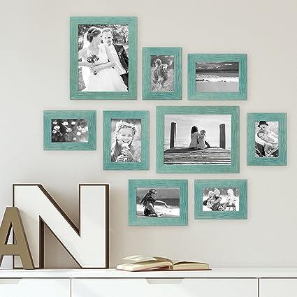 Amazon.com - Photolini Set of 9 Picture Frames, Beach-House Style ...