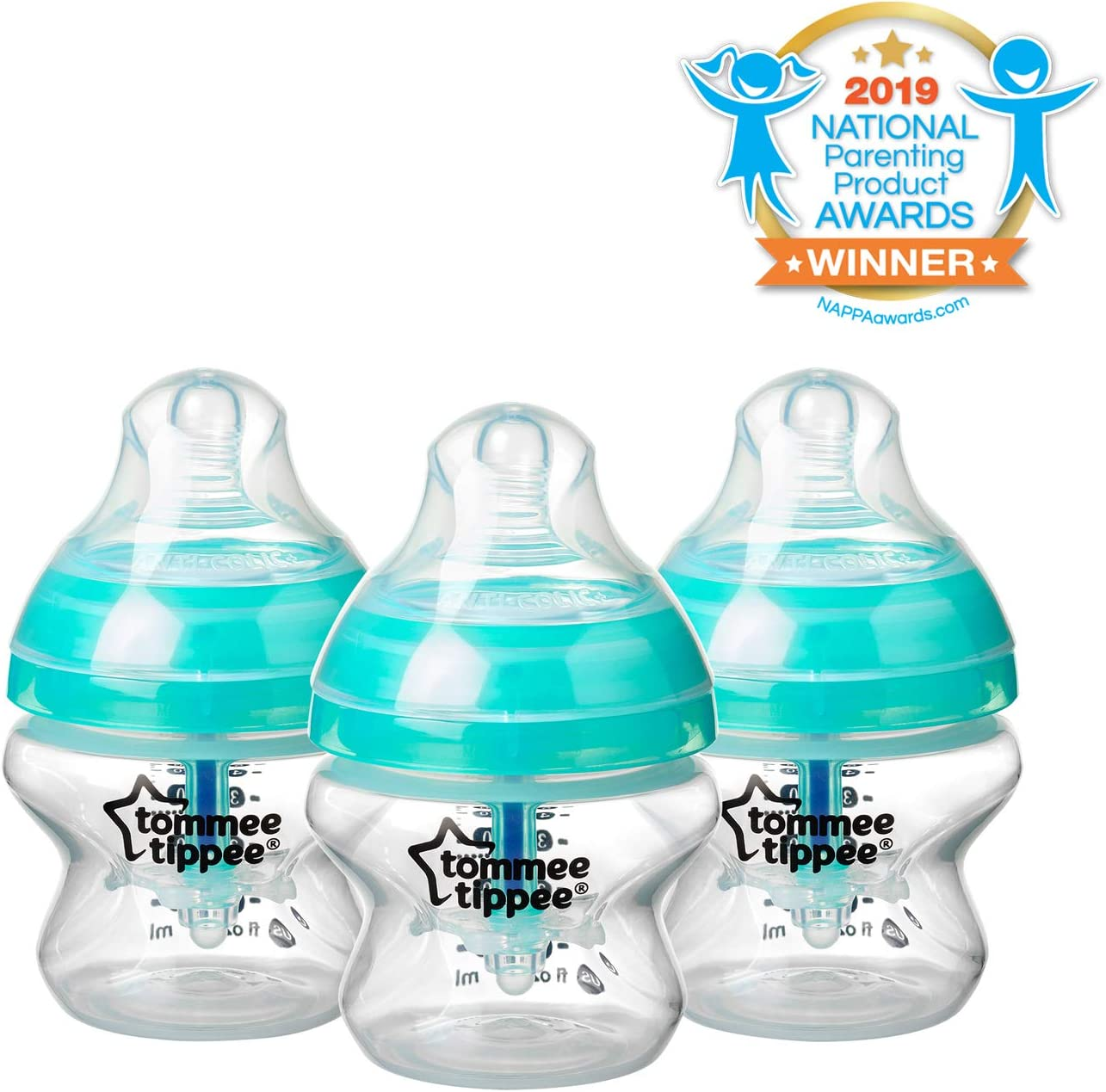 Blue Tommee Tippee Advanced Anti-Colic Baby Bottle 5 Ounce 3 Count BPA-Free Extra-Slow Flow Breast-like Nipple Heat-Sensing Technology