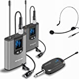 Wireless Headset Lavalier Microphone System -Alvoxcon Dual Wireless Lapel Mic Compatible with iPhone, DSLR Camera, PA Speaker