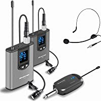 Wireless Headset Lavalier Microphone System -Alvoxcon Dual Wireless Lapel Mic for iPhone, DSLR Camera, PA Speaker…