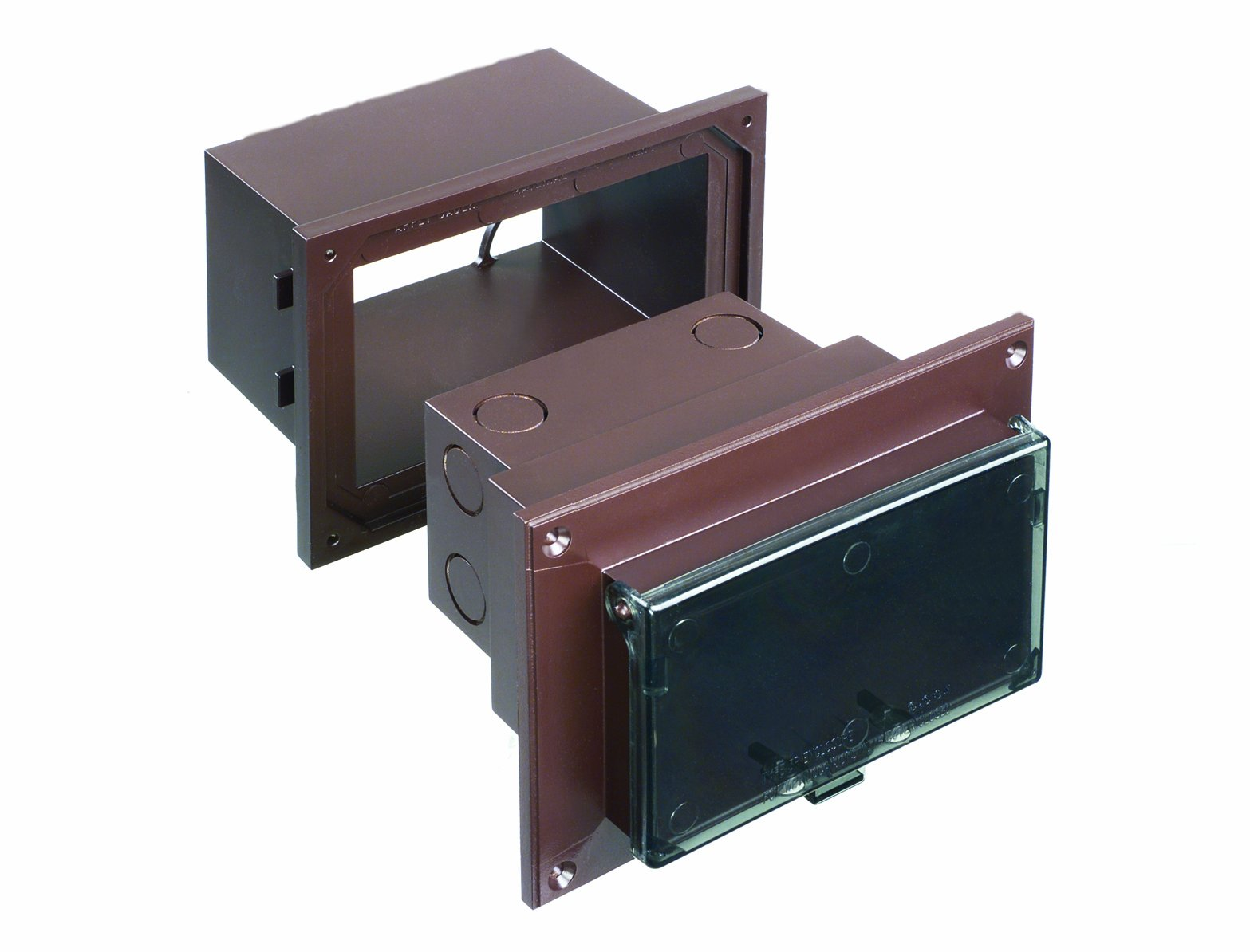 Arlington DHB1BRC-1 Low Profile IN BOX Electrical Box with Adapter Sleeve for New Brick Construction, 1-Gang, Horizontal, Clear Cover/Brown Box