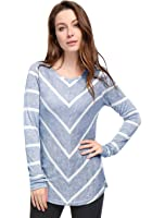 Allegra K Women's Long Sleeves Scoop Neck Striped Chevron Print Top