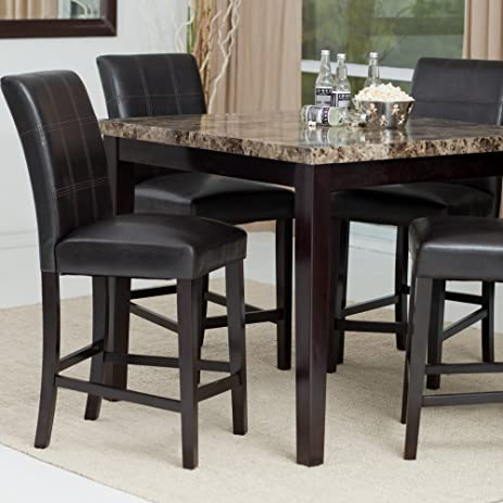Marble Top Dining Table Set For 4 Counter Height Chairs Dark Espresso Brown  Color Solid Wood