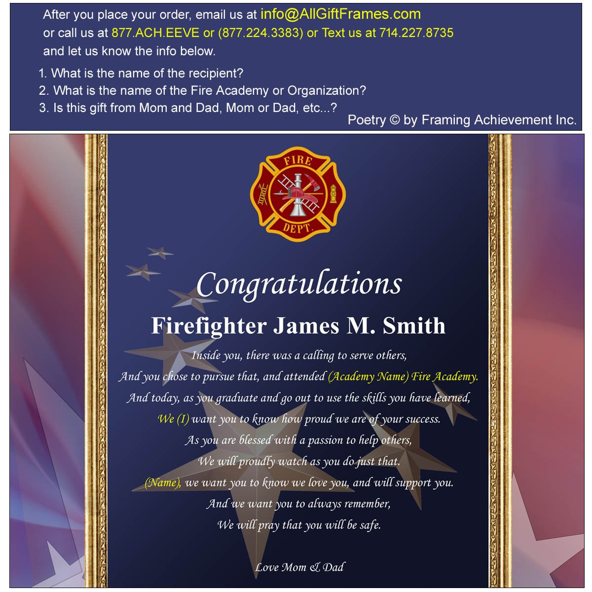 amazon com personalized fire fighter academy graduation gift of amazon com personalized fire fighter academy graduation gift of poetry custom poetry wall plaque fireman graduation present firefighter gift
