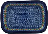 Polish Pottery Rectangular Baker 10-inch Red Zinnia made by Ceramika Artystyczna