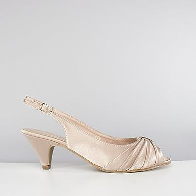 1916cf2a296 Comfort Plus TESS Ladies Wide E Fit Slingback Satin Shoes Nude UK 3 ...