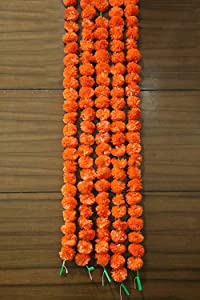 Pack of 5 Artificial Orange Marigold Flower Garlands 5 ft Long- for use in Parties, Celebrations, Indian Weddings, Indian Themed Event, Decorations, House Warming, Photo Prop, Diwali, Ganesh Fest