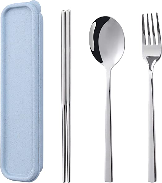 stainless steel Chopsticks Box Fork Spoons Storage Case Wheat Straw Traveling