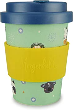 Morgenheld Your Trendy Bamboo Cup Coffee To Go Cup Coffee Cup A Cool Design With Screw Cover And Silicone Banderole 350ml Kids Boy