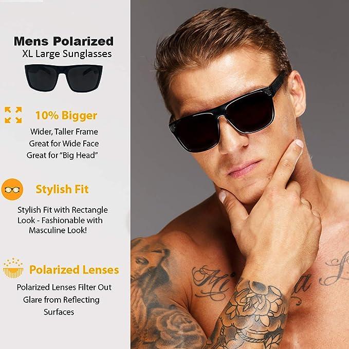 2dfe6f74f7 Amazon.com  2 Pack XL Polarized Men s Big Wide Frame Sunglasses - Large Head  Fit (1 Black