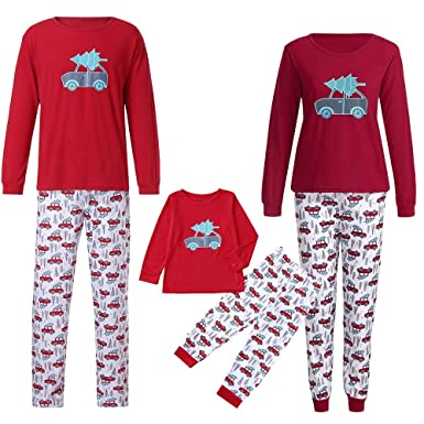 amazoncom fiaya family christmas pajamas sets mamapapakids christmas tree top bottoms sleepwear pjs collection clothing