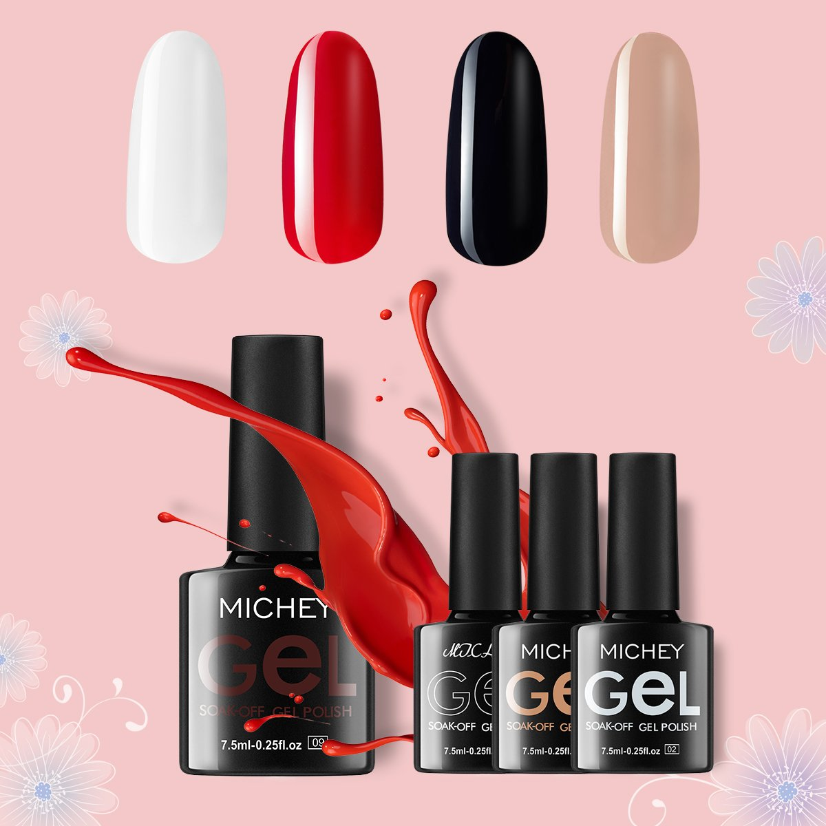 Amazon.com: MICHEYGel UV Gel Nail Polish, 4pcs, Super Glossy ...
