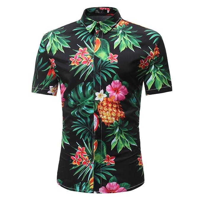 QinMM Camisas Estampada Floral de la Moda del Hombre Verano Primavera Blusa Delgadas de Manga Corta